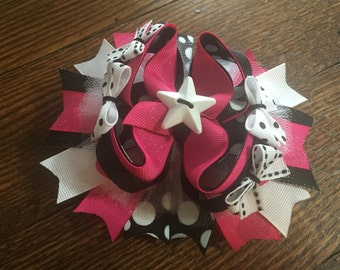 Pink/Black Star Over The Top Hair Bow