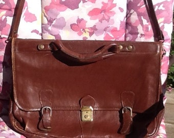 Vintage Brown Leather Briefcase / Leather Messenger Bag / Free Shipping