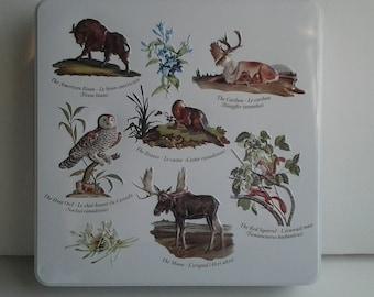 Vintage Tin / Collectible Hudson's Bay Tin / Animals of Canada Tin