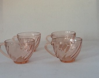4 Arcoroc France Teacups / Vintage French Arcoroc Rosaline Expresso Cups