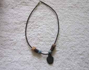 Vintage Hippie Real Trilobite Stone Fossil and Beaded Necklace