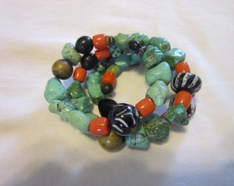 Vintage Real Turquoise & Art Glass Fancy Bangle Bracelet Must See