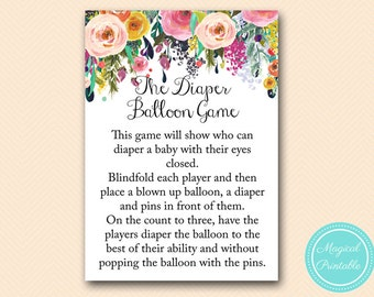 Diaper Balloon Game, Co Ed Baby Shower Games, Floral, Shabby Chic Baby