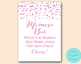 Mimosa Bar Sign, Pink Silver Confetti Mimosa Sign, Bubbly Bar, Bridal Shower Sign, Wedding Sign BS179 tlc179 MP