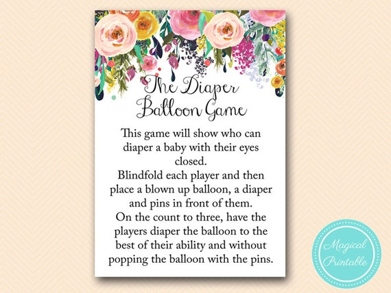 balloon game co ed baby shower games floral shabby chic baby shower