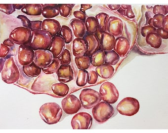 Watercolor pomegranate art , kitchen art ,watercolor painting , original watercolor