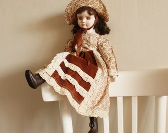 NEW PRICE Vintage doll, bisque face doll, old fashioned lady doll, collectible doll