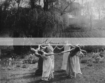 Instant Download Printable - Circle of Women Dancing by Moonlight - Wiccan Witches Halloween Goth Printable Digital Download Image