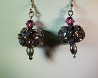Lampwork lavender and silver scrollwork earrings-A234
