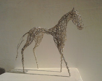 Silver Wirework Horse Sculpture. Handmade and Unique.