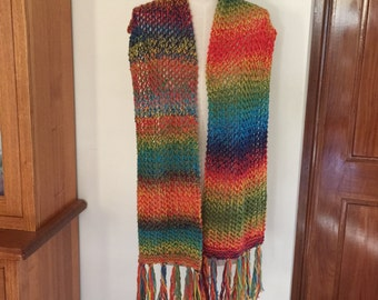 Hand knitted colourful scarf