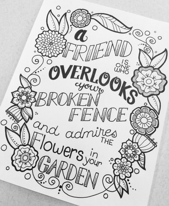Digital Coloring Page A Friend Is One from Quotes from the
