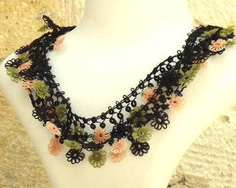 Turkish OYA Lace - Necklace - Bijou - Black & Green