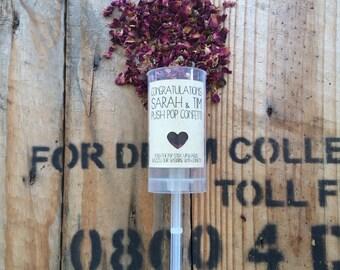 100 wedding rose petal confetti push pop/cannon/launcher