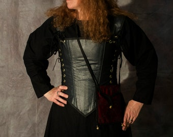 Black faux leather steel boned bodice