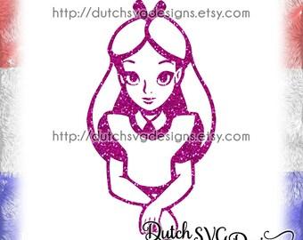 Alice in Wonderland cutting file, in Jpg Png Studio3 EPS SVG DXF, Cricut svg, Silhouette cut file, disney svg, princess svg, disney clipart