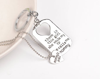 mommy daughter key chain necklace set