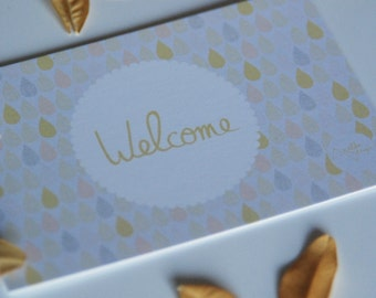 """10 mini-cards """"Welcome"""" vintage raindrops with pastel pink mustard and grey"""