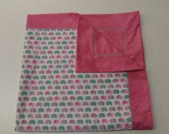 Receiving blanket with a twist. Elephants checker stitch. 40X40