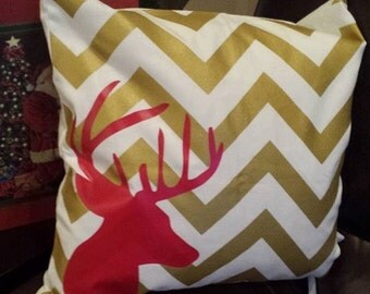 CLEARANCE Chevron deer throw pillow cover-Gold with red design