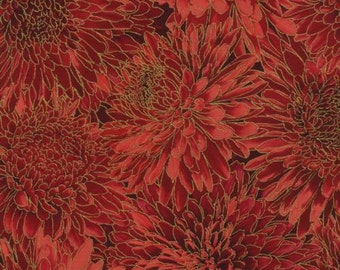 Fall Harvest fabric, Red Flowers with Metallic Accents, Timeless Treasures