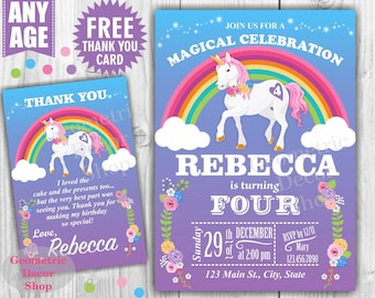 Unicorn Birthday Invitation Purple Invitations Girl Invite Pink Invites Magical Day Rainbow Birthday FREE Thank you card Flowers BDU2