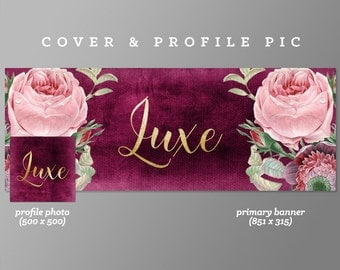 Pink Timeline Cover + Profile Picture 'Luxe ' Cover, Profile Picture, Branding, Web Banner, Blog Header | Purple, vintage flowers