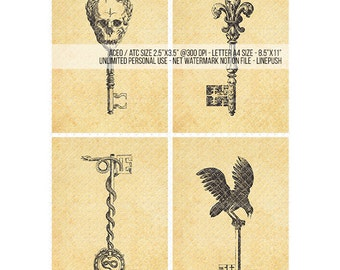 Sale! ACEO Skeleton Keys. Gothic keys. Ornamental keys. Skull skeleton key. Raven crow skeleton snake. Printables. ACEO ATC trading cards.
