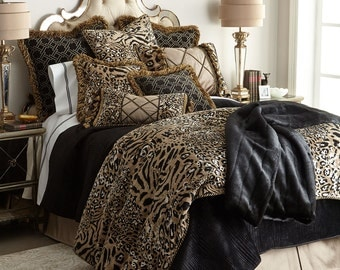 Sweet Dreams Animal Print Madagascar Home Couture 6 pc Queen Bedding Set Black Gold