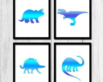 Cool Wall Art Downloadable Art Modern Art Prints Set of Four 8x10 Cool Wall Decor Blue Prints Dinosaur Prints Colorful Wall Decor Set of 4