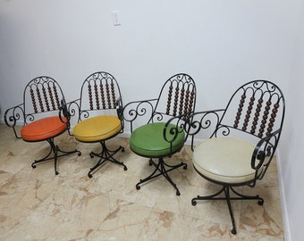 4 Vintage Hand Forged Mediterranean Scrolled Iron Regency Dining Room Chair Set