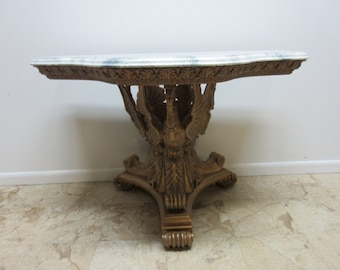 Vintage Swan Carved Regency Faux Marble Top Hall Foyer Console Table Louis XV
