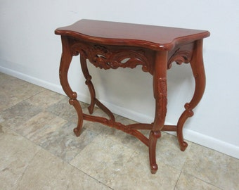 Antique Mahogany Hand Carved Demi Lune Console Table French Regency Louis XV A