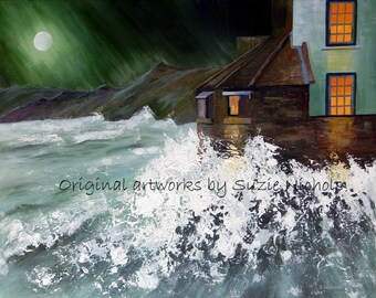 Acrylic Painting Crashing Waves at Robin Hood's Bay- Painting on Canvas by Artist Suzie Nichols (sea yorkshire cliffs moon dramatic spray )