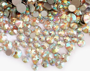 144pcs Bling High Quality Wholesale Pack Silver Back FlatBack Crystals Glass Rhinestones Gems Size ss6 ss8 ss10 ss12 ss16 ss20-AB Color