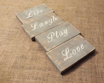 Live, Laugh, Play, Love - Hand Painted Wooden Sign
