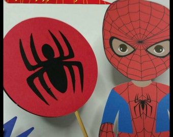 4pc Superhero Centerpiece, Superhero Cake Toppers