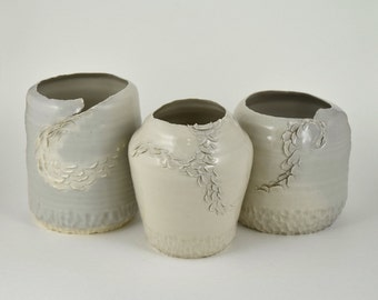 Cloudy and Textured Porcelain Vase Set