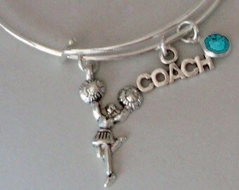 CHEERLEADER Coach Bangle  -w/ Birthstone Adjustable Bangle / Gift For Her / Under Twenty /   Usa  SC1