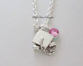 Graduation Charm Necklace  W/ Swarovski Birthstone /  Graduation Necklace High School / College Gift  For Her / Under 20 / Usa   NK1