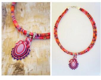 soutache pendant necklace, braid, boho, ethnic