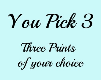 Three combined prints, You Pick 3, Gold Foil prints Home Decor