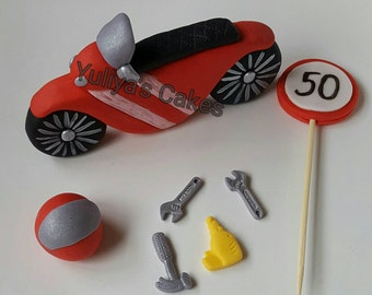 Edible motorbike/bike,race,cake topper,tools,sign,age,handmade birthday sugarpaste