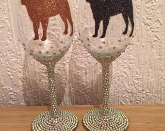 Gem embellished large glitter pug silouhette wine glass