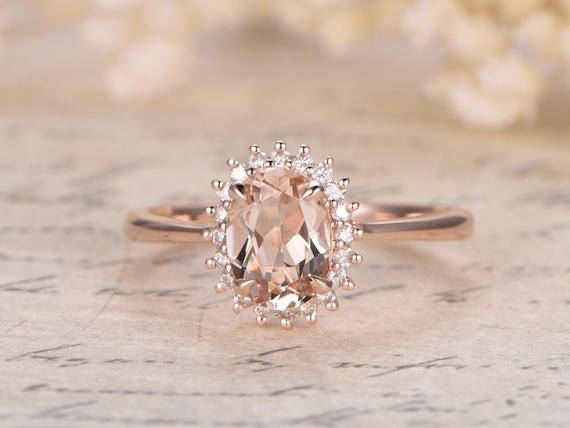 Favori Princess Diana Ring6x8mm Oval VS Pink Morganite Ring14K Rose HU46