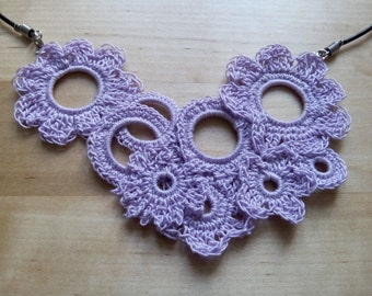 Necklace set, brooch or crochet flower hair clip