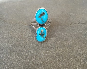 Sz.6.2 Turquoise & Sterling silver multi stone ring