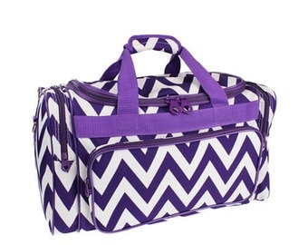 Purple Chevron stripe Duffle bag for travel duffel luggage or craft supplies