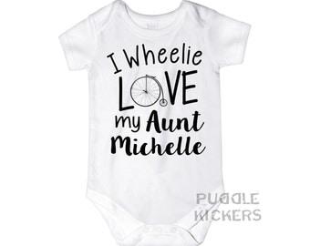 Aunt Onesie ® I Wheelie Love My Aunt Personalized Aunt Gift Baby Girl Baby Boy Bicycle Onesie Custom Aunt Onsie Pregnancy Reveal for Aunt