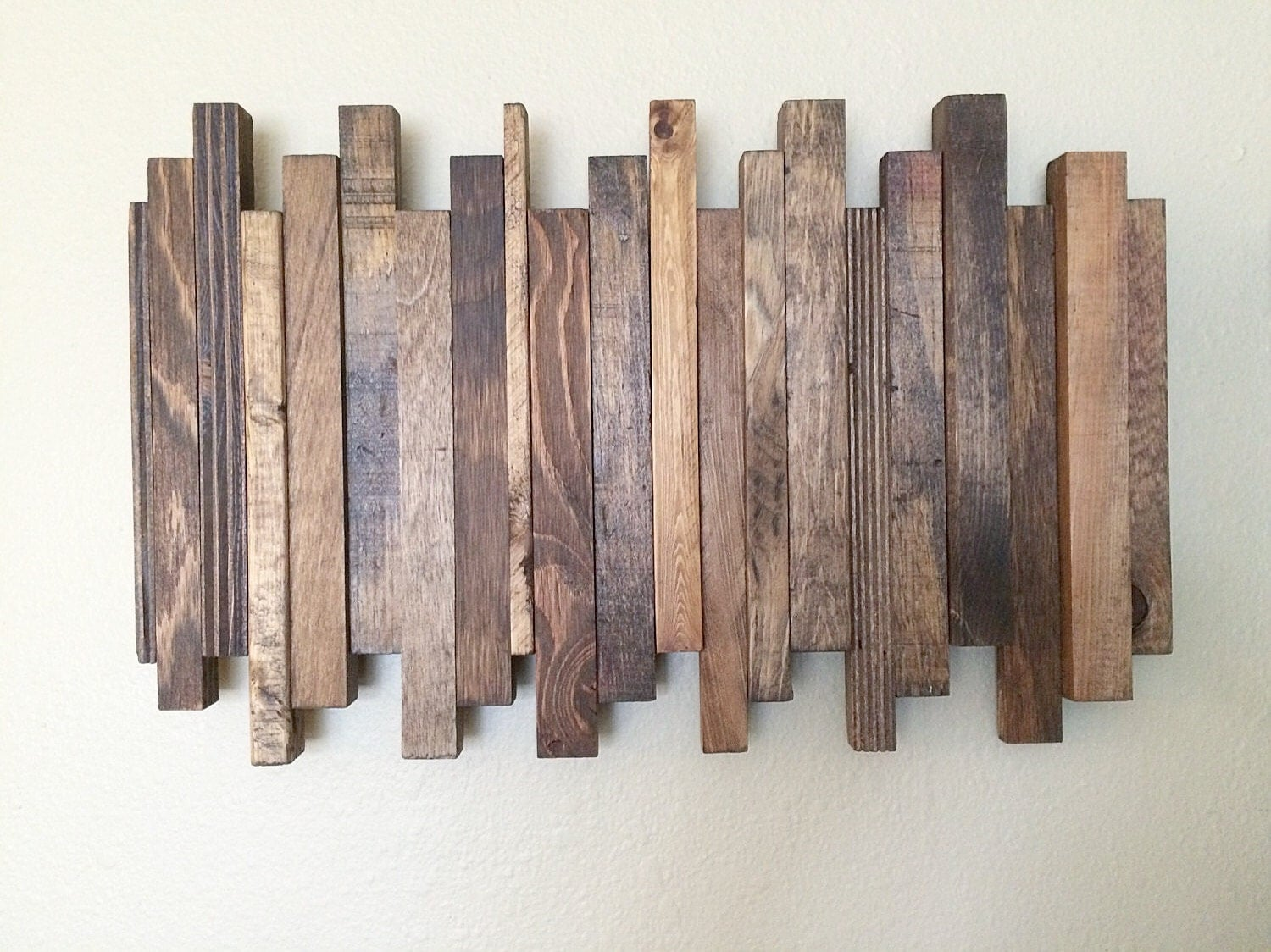 Wooden Wall Art Decor : Reclaimed wood wall art staggered
